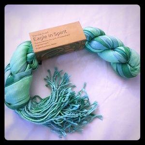 "Green ""Eagle in Spirt"" native design scarf"
